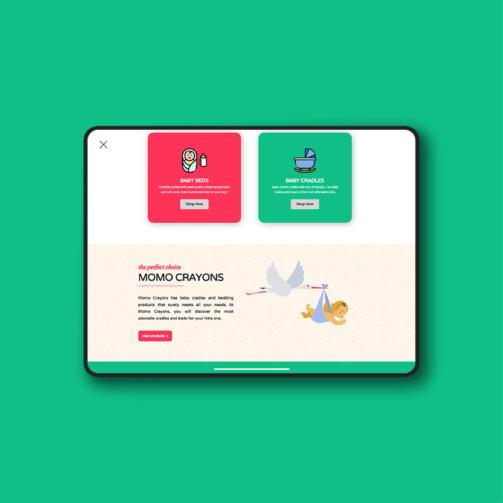 momo crayons website design mockup