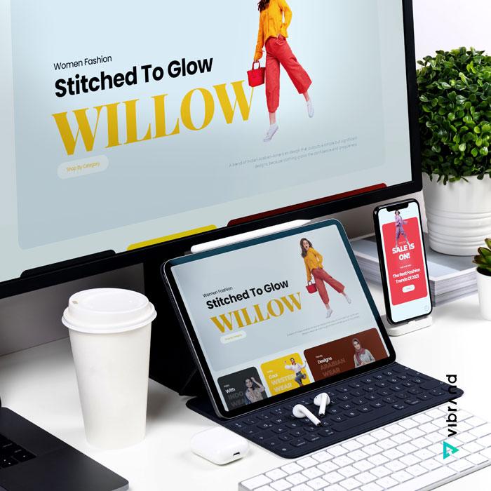Vibrand Digital Solutions - Digital Marketing-Willow Website Mockup Design - website design
